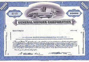 History of General Motors - General Motors Corporations Specimen Stock Certificate