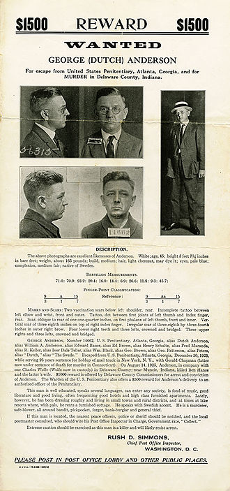 "George Anderson (criminal) - George ""Dutch"" Anderson Wanted poster"