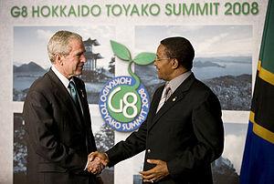 34th G8 summit - U.S. President Bush meets Tanzanian President Kikwete