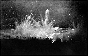 Barrage (artillery) - A German artillery barrage falling on Allied trenches at Ypres, probably during the Second Battle of Ypres in 1915, during the First World War.