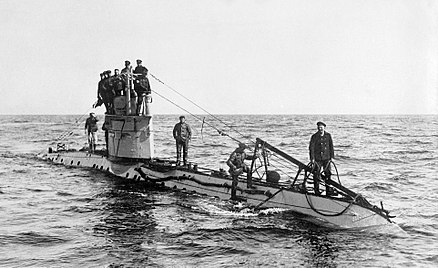 German UC-1-class World War I submarine. The wires running up from the bow to the conning tower are the Jumping wires German UC-1 class submarine.jpg