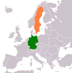 Map indicating locations of Germany and Sweden