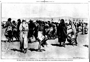 Ghost Dance - The Ghost Dance of 1889-1891 by the Oglala Lakota at Pine Ridge. Illustration by western artist Frederic Remington, 1890.