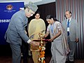 Ghulam Nabi Azad lighting the lamp to inaugurate the 4th Regional Meeting of South Asian Forum of Health Research, organised by the Indian Council of Medical Research.jpg