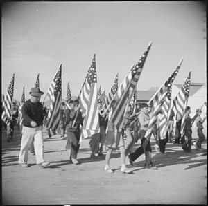 Gila River War Relocation Center - School children participating in the Harvest Festival Parade
