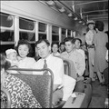 Gila River Relocation Center, Rivers, Arizona. Evacuees on their way home by Greyhound bus. On Sep . . . - NARA - 539850.tif