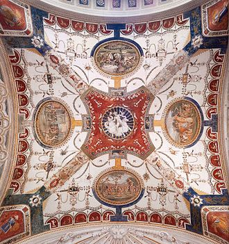 Villa Madama - Ceiling decoration of one bay of the garden loggia (Giovanni da Udine, c. 1521)