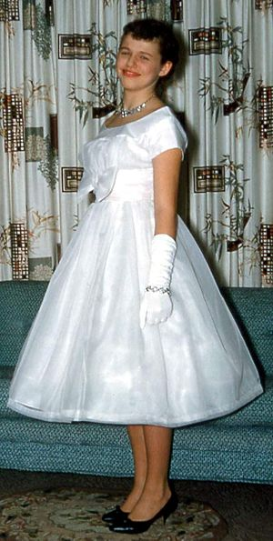 Prom - Girl in formal prom attire, United States, 1950s
