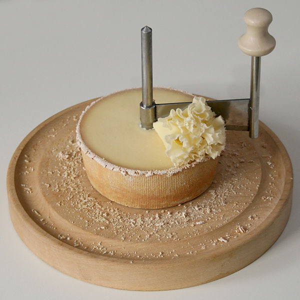 Image of a Tête de Moine with a Girolle scraper - courtesy of Wikipedia