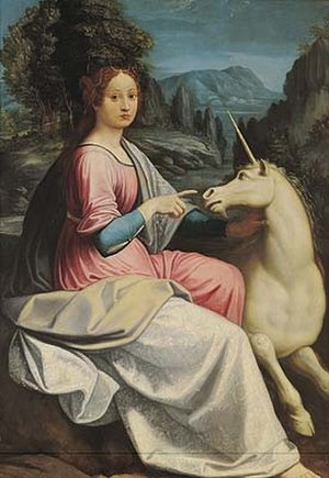 Giulia Farnese - Lady with a Unicorn by Luca Longhi, possibly a portrait of Giulia Farnese