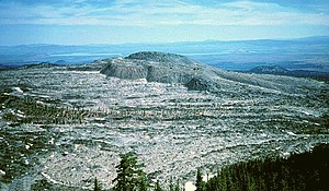 Medicine Lake Volcano - Glass Mountain from Medicine Lake caldera rim. USGS photo by Julie Donnelly-Nolan.