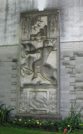 Guild Park and Gardens - Stonework from the William H. Wright Building, one of many architectural relics display at the park.