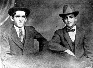 Fernando González (writer) - The young Fernando González at right with his friend Fernando Isaza in 1915.