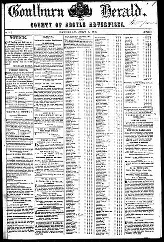 Goulburn Herald - Front page of Goulburn Herald and County of Argyle Advertiser newspaper, Saturday 1 July 1848