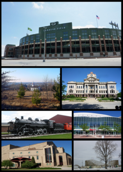 Top, left to right: Lambeau Field, Heritage Hill State Historical Park, Brown County Courthouse, National Railroad Museum, Resch Center, Weidner Center, Bay Beach Amusement Park