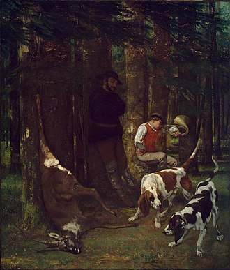 The Kill - Deer Hunting in the Grand Jura Forests - Image: Gustave Courbet, 1856, The Quarry (La Curée), oil on canvas, 210.2 x 183.5 cm, Museum of Fine Arts, Boston