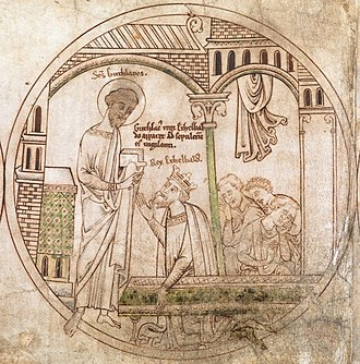 Æthelbald of Mercia - Guthlac appears to Æthelbald in a dream in this roundel from the Guthlac Roll (early 13th century).