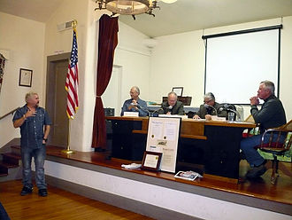 Ferndale, California - Guy Fieri receives the key to the city of Ferndale from the Ferndale City Council at a special council meeting, 23 November 2012.
