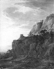 Berglandschap met toren