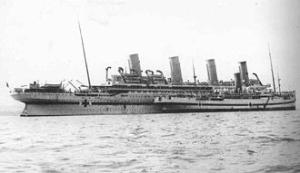 HMHS Britannic - Britannic with HMHS ''Galeka'', taking on board the wounded at Mudros