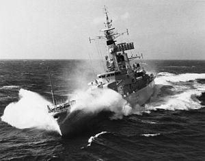 HMS Andromeda (F57) - Leander-class frigate HMS Andromeda (F57) in choppy seas, 1967 (IWM HU 129720)