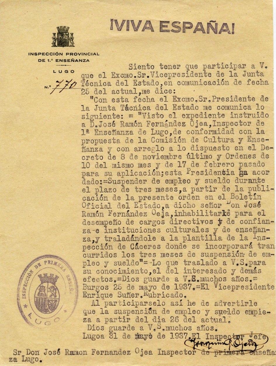 Ha acordado suspender de empleo y sueldo a José Ramón Fernández Ojea. 25 de mayo de 1937
