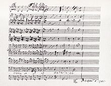 The last page of the Hallelujah Chorus, ending Part II, in Handel's manuscript