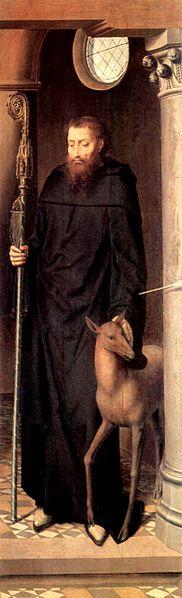 Den hellige Egidius, høyre ytterfløy av Triptykonet på Pasjonsalteret i domkirken i Lübeck av Hans Memling (ca 1491), i dag i Museum für Kunst- und Kulturgeschichte i St.-Annen-Kloster i Lübeck