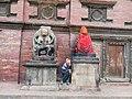 Hanuman and Narsingha statues at the entrance of Sundari Chowk, Patan Durbar Square.jpg