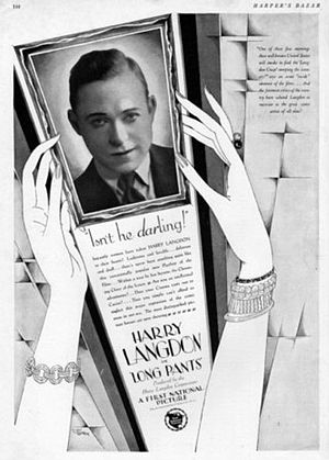Harry Langdon - 1927 Harper's Bazaar ad for Long Pants
