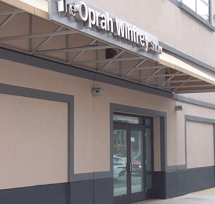 Marquee for the show, above entrance at Harpo Studios in Near West Side, Chicago. The first Oprah show was taped there on January 15, 1990. Harpo Studios Oprah Marquee.jpg