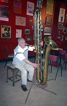 Harry Gold playing his contrabass saxophone, 100 Club, London, 1996.jpg