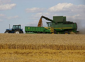 "English: Harvesting near Worlaby. ""The UK..."