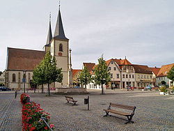 Market square with the Church of Saint Kilian