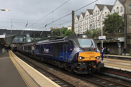 Domestic rail services are operated by Abellio ScotRail. Haymarket - DRS 68007 evening commuter service.JPG