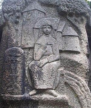 Helena of Skövde - Carving of Helena at the Gyllen i Kyrkparken in Skövde, Sweden.
