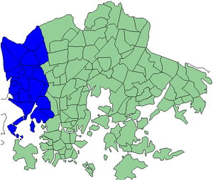 Western major district of Helsinki - Districts of Helsinki. Western major district highlighted