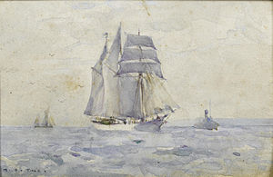Henry Scott Tuke - A three-masted topsail schooner heading into port with a tug.jpg