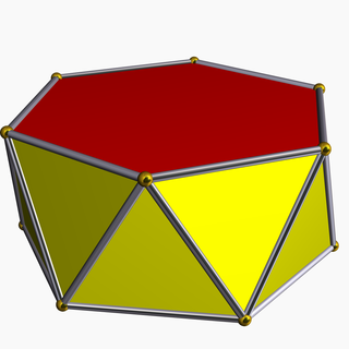 Antiprism polyhedron with two parallel copies of a polygon, connected by an alternating band of triangles