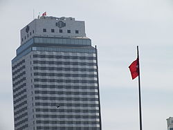 Hilton Izmir and the Turkish Flag.JPG