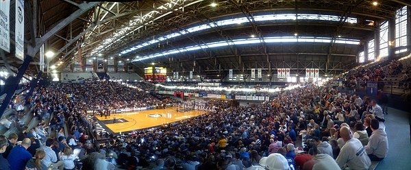 An interior panorama of Butler University's Hinkle Fieldhouse, constructed in 1928, during a game between the Bulldogs and the University of Wisconsin Green Bay.