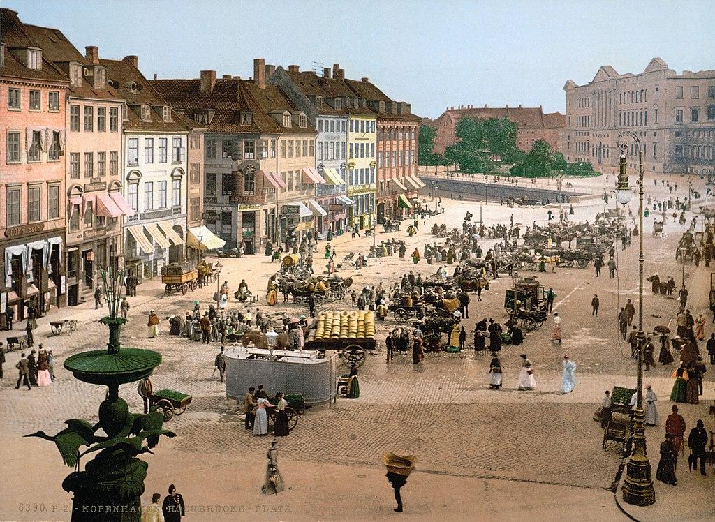 Place Hochbrucke à Copenhague vers 1900.