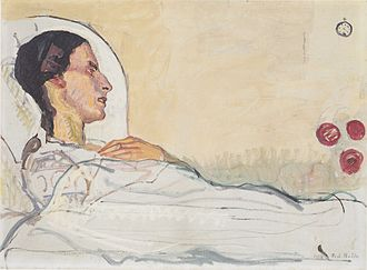 Ferdinand Hodler -  Valentine Godé-Darel on Her Sickbed, 1914, oil on canvas