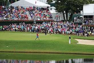 Tour Championship - Jordan Spieth and Henrik Stenson on the 17th Green during the 2015 Tour Championship