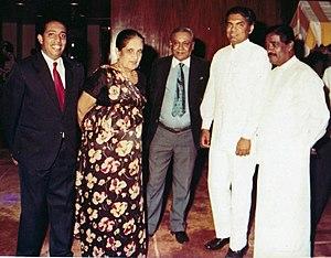 Lalith Athulathmudali - Lalith Athulathmudali with  Mervyn De Silva, Hon.Sirimavo Bandaranaike and Anuradha Dullewe Wijeyeratne