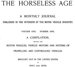 Automotive Industries (magazine) - The Horseless Age, volume 1 No.1