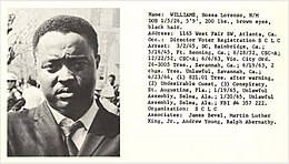 Hosea Williams; from entry in 'Individuals involved in civil disturbances, vol. 2, distributed by the Alabama Department of Public Safety during the 1960s civil rights era (image plus text).jpg