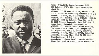 Hosea Williams - Hosea Williams, image and text from recognition documents distributed by the Alabama Dept. of Public Safety in the mid–1960s.