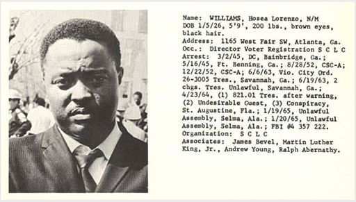 Hosea Williams; from entry in 'Individuals involved in civil disturbances, vol. 2, distributed by the Alabama Department of Public Safety during the 1960s civil rights era (image plus text)