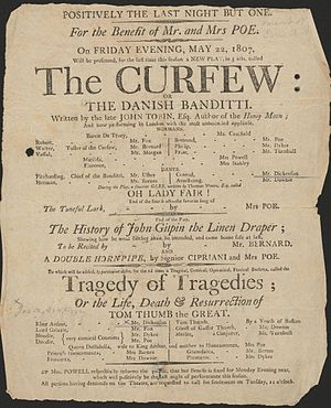 "Eliza Poe - Playbill for The Curfew, May 27, 1807, presented ""For the Benefit of Mr. and Mrs. Poe"""